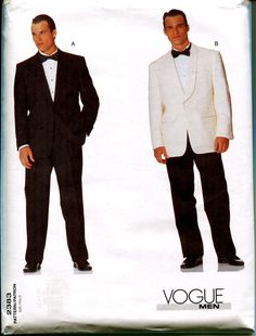 Vogue MENS TUXEDO PATTERN Suit Jacket & by DesignRewindFashions