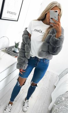 #fall #outfits women's grey fur coat