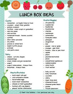 Picture poster of Lunch Box Ideas broken down by carbs...etc! Copy/paste/print!
