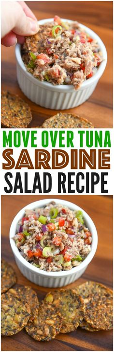 Sardine Salad recipe for crackers or sardine salad sandwich! Easy healthy fish recipe packed with fresh lemon, peppers and onions.  via @CourtneysSweets