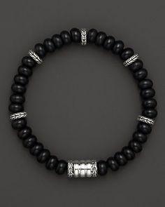 John Hardy Men's Batu Bedeg Silver Beads Bracelet with Frosted Black Chalcedony | Bloomingdale's