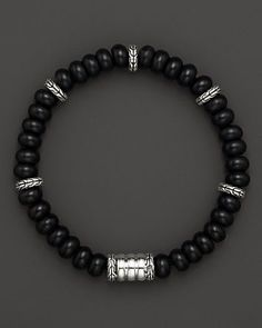 John Hardy Men's Batu Bedeg Silver Beads Bracelet with Frosted Black Chalcedony | Bloomingdale's