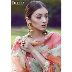 In love with this beautiful shot of Neha Rajpoot in a vibrant Deena Rahman dupatta and Rema Luxe Jewellery. Pakistani Couture, Pakistani Bridal Dresses, Pakistani Dress Design, Indian Couture, Pakistani Outfits, Indian Dresses, Indian Outfits, Embroidery Suits Punjabi, Embroidery Suits Design