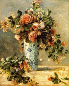 Pierre Auguste Renoir, 1841-1919- Roses and Jasmine in a Delft Vase (Les Roses et jasmin dans le vase de Delft) c. 1880-1881 Oil on canvas-The Hermitage, St. Petersburg