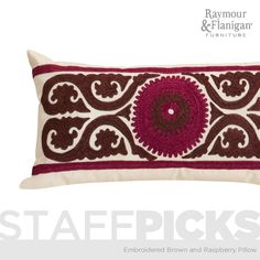 Embroidered Brown and Raspberry Kidney Pillow | This pillow is inspired by eye-catching designs found throughout Moroccan decor.