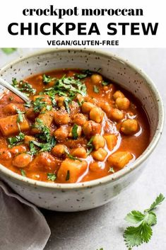 This recipe for crockpot Moroccan chickpea stew is made in a slow cooker with warming spices for a delicious filling vegan dinner! A hearty vegan Moroccan inspired stew you can make in your crockpot! Vegan Dinner Recipes, Veg Recipes, Vegan Dinners, Slow Cooker Recipes, Whole Food Recipes, Vegetarian Recipes, Cooking Recipes, Healthy Recipes, Curry Recipes