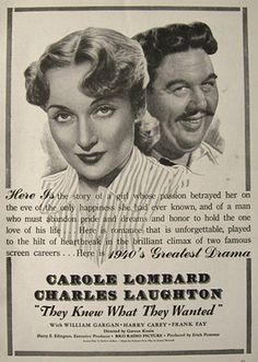 1940 Movie Ad ~ They Knew What They Wanted ~ Carol Lombard
