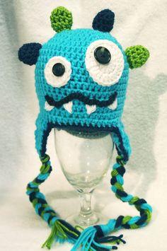 Adorable little monster crochet hat by AllAboutNoggins on Etsy, $26.00