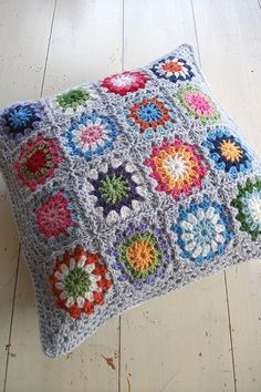 crochet cushion cover pillow decorative modern retro by MYLITTLEREDSUITCASE bright colourful wool sunburst style grey border home decor via Etsy