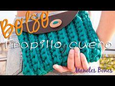 Bolso de trapillo y cuero | Tutorial DIY Crochet XXL - YouTube