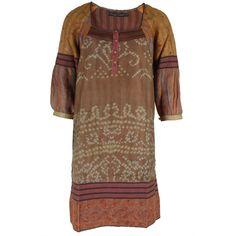 Bl^nk London Vintage Kantha Zinta camel silk Tunic ($265) ❤ liked on Polyvore