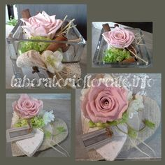composizioni con rose stabilizzate Apple Rose Pastry, Apple Roses, Rose Stabilisée, Small Centerpieces, Simple Flowers, Arte Floral, Flower Power, Bouquets, Diy And Crafts