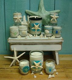 Creamy Coconut Soy Candle Jar With Starfish and Turquoise Capiz Shell. Luxury Candles, Best Candles, Votive Candles, Scented Candles, Key West Decor, Hawaiian Bedroom, Bedroom Decor, Wall Decor, Beach Color