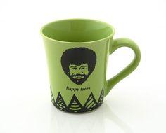 Bob Ross happy Trees Green stoneware mug (Etsy: LennyMud)