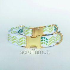 Green Dog Collar / Arrow Dog Collar / Adjustable by Scruffamutt