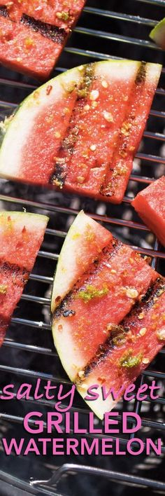 How to Grill Watermelon. Easy grilled watermelon is refreshing and healthy. You'll need watermelon, lime, salt, red pepper flakes, and sugar. Grilled Watermelon, Grilled Fruit, Watermelon Recipes, Watermelon Fruit, Grilling Recipes, Cooking Recipes, Easy Recipes, Grilling Tips, Cheap Recipes