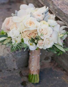 Champagne abd ivry wedding theme garden boquet