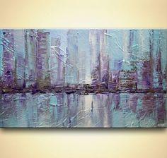 modern New York City painting palette knife city by OsnatFineArt