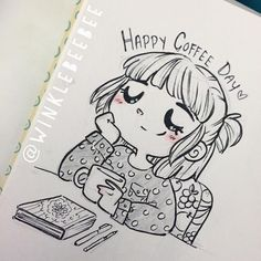 Love Winklebeebee her drawings make me smile, I especially love this one in honour of national coffee day...coffee lover that I am