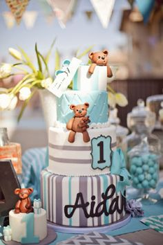 Aqua Blue and Brown Teddy Bear First Birthday Party for Aidan  I LOVE this cake--with not so big teddy bears--CUTE!  S.C.