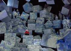 """The Dallas Opera. Scenic design by Robert Brill. Really cool portrayal of a mountain for the stage, effective I showing the """"disarray"""" and non-uniformity of Everest. Set Theatre, Set Design Theatre, Theater, Conception Scénique, Bühnen Design, Instalation Art, Stage Set Design, Scenic Design, Light Art"""