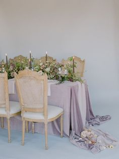 La Tavola Fine Linen Rental: Velvet Rose with Aurora Mauve Table Runner | Photography: Michele Beckwith, Styling & Planning: Erica Estrada Design, Floral: Seascape Flowers, Rentals: Revival Rentals, Chairs: Found Rentals