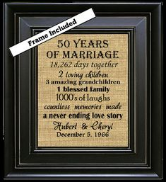 For Sale is an 8 x 10 50th Anniversary Personalized Framed Burlap Wall Hanging. Perfect for that special couple celebrating an Anniversary and they