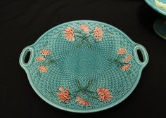 "Art Nouveau footed bowl with floral decoration marked on bottom ""Made in Germany 2474"", floral and geometric pattern dish marked on back ""Zell Germany 2792"", also incl art nouveau pottery vase, largest being 4""T."