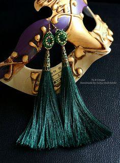 Dark Green Beaded Tassel Earring