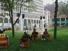 The New Center Park across the street from the G55 Office.