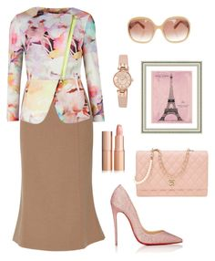 """Ooh la la Paris Rose"" by pinksoul28 on Polyvore featuring Brock Collection, Ted Baker, Christian Louboutin, Chanel, MaxMara, Anne Klein and Vintage Print Gallery"