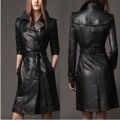 Fashion Designer Black Leather jacket women elegent long sleeve slim suede jacket with belt high quality veste cuir femme Womens Black Leather Jacket, Long Leather Coat, Leather Jacket Outfits, Leather Trench Coat, Leather Dresses, Leather Collar, Pu Leather, Suede Jacket, Vintage Leather Jacket
