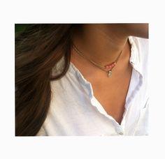 Gargantillas de cristal checo y piedra semipreciosa en tonos pastel. Necklaces.