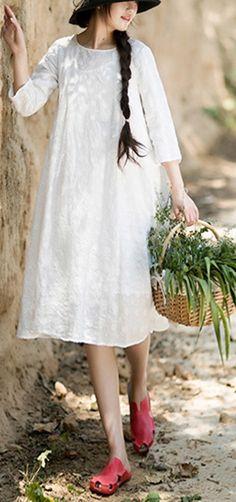 Unique O-Neck Summer Wardrobes Inspiration White Dress Casual Chic Summer, Casual Summer Dresses, Summer Dresses For Women, White Linen Dresses, Cotton Dresses, White Dress, Floral Plus Size Dresses, Long Sleeve Chiffon Dress, Linen Tops