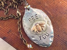 Honey Bee Spoon Necklace with Hand Stamped by kyleemaedesigns