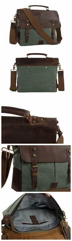 Canvas Leather Bag Briefcase Messenger Bag Shoulder Bag Laptop Bag