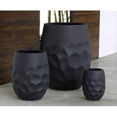 Campania International Prism Fiber Clay Composite Pot Planter Color: Onyx Black Lite, Size: H x W x D Black Planters, Tall Planters, Planter Pots, Clay Planter, Clay Vase, Clay Pots, Pottery Pots, Fiberglass Planters, Concrete Crafts