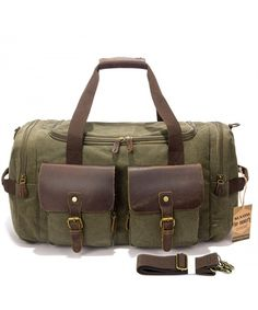 faa5feb53022 Leather Canvas Duffle Bag Weekender Overnight Travel Duffel Gym Bag Luggage  - Army green - CB17Z5OIHAQ