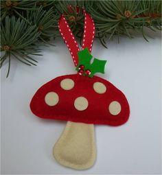 Wool Felt Woodland Mushroom Ornament