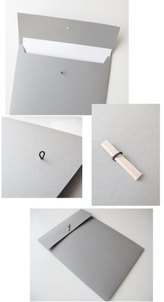Here's a folder I did the other day. Very simple, just like I like it, with a piece of leather as a lock. For the the little loop you see in the second picture, I used a piece of elastic thread. And t