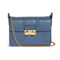 Lanvin 'Jiji' small leather chain shoulder bag (117.715 RUB) ❤ liked on Polyvore featuring bags, handbags, shoulder bags, blue, real leather handbags, blue shoulder bag, genuine leather purse, leather shoulder bag and structured leather handbags