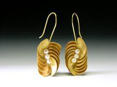 earrings, 18k gold w/ pearls. Jacqueline Ryan - The Scottish Gallery, Edinburgh
