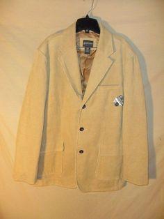 NEW Men's St. John's Bay Corduroy Everyday Sport Coat Blazer Suit Separate Tan-L #StJohnsBay #ThreeButton