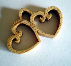 Double Open Heart Pendant Handcrafted from Oak Wood Side by side  | KevsKrafts - Woodworking on ArtFire