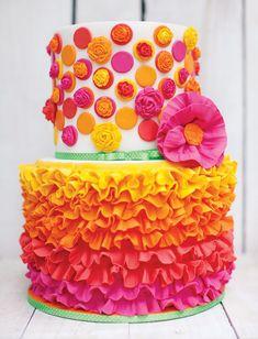 Yellow, orange, pink cake