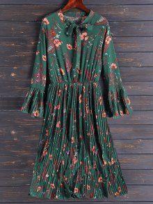Pleated Flare Sleeve Floral Midi Dress