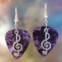 Music Note Treble Clef Earrings, Musical Guitar Pick Jewelry, Custom Color, Pierced or Clip On Dangle Earrings, Symphony Band