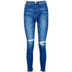 Boohoo Brianne High Waisted Skinny Jeans | Boohoo ($44) ❤ liked on Polyvore featuring jeans, cut skinny jeans, highwaist jeans, lined jeans, blue jeans and high rise jeans