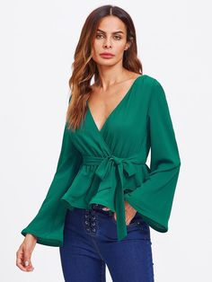 Elegant and Party Belted and Wrap Plain Top Slim Fit Deep V Neck Long Sleeve Flounce Sleeve Green and Bright Bell Sleeve Surplice Wrap Blouse with Belt Indian Blouse, Rocker, Plain Tops, Spring Shirts, Rock Chic, Wrap Blouse, Collar Blouse, Women's Fashion Dresses, Blouse Designs