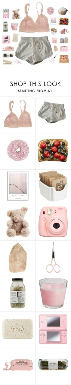 """""""p i n k"""" by abbeyso ❤ liked on Polyvore featuring Hanky Panky, Crate and Barrel, Jellycat, Polaroid, Anastasia Beverly Hills, Dr. Jackson's, Fresh, Nintendo and BOBBY"""